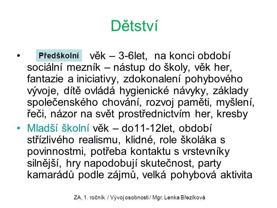 ZA, 1. ročník / Vývoj osobnosti / Mgr. Lenka Březíková