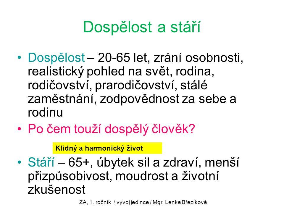 ZA, 1. ročník / vývoj jedince / Mgr. Lenka Březíková