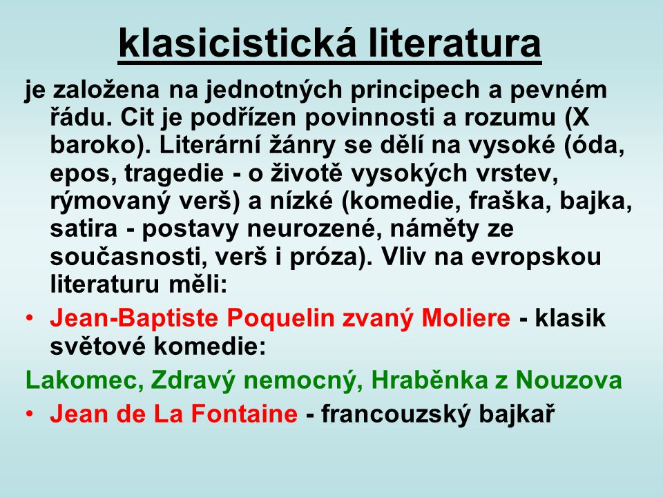 klasicistická literatura