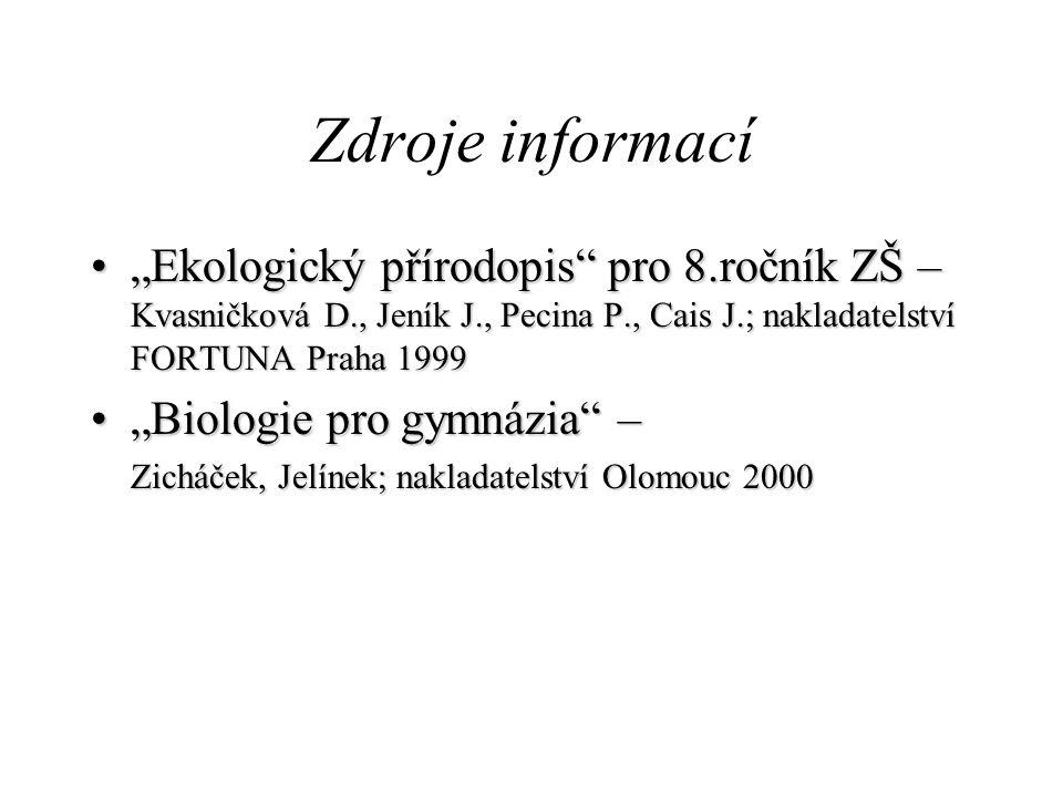 """Zdroje informací """"Ekologický přírodopis pro 8.ročník ZŠ – Kvasničková D., Jeník J., Pecina P., Cais J.; nakladatelství FORTUNA Praha 1999."""