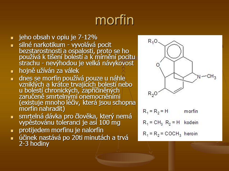 morfin jeho obsah v opiu je 7-12%