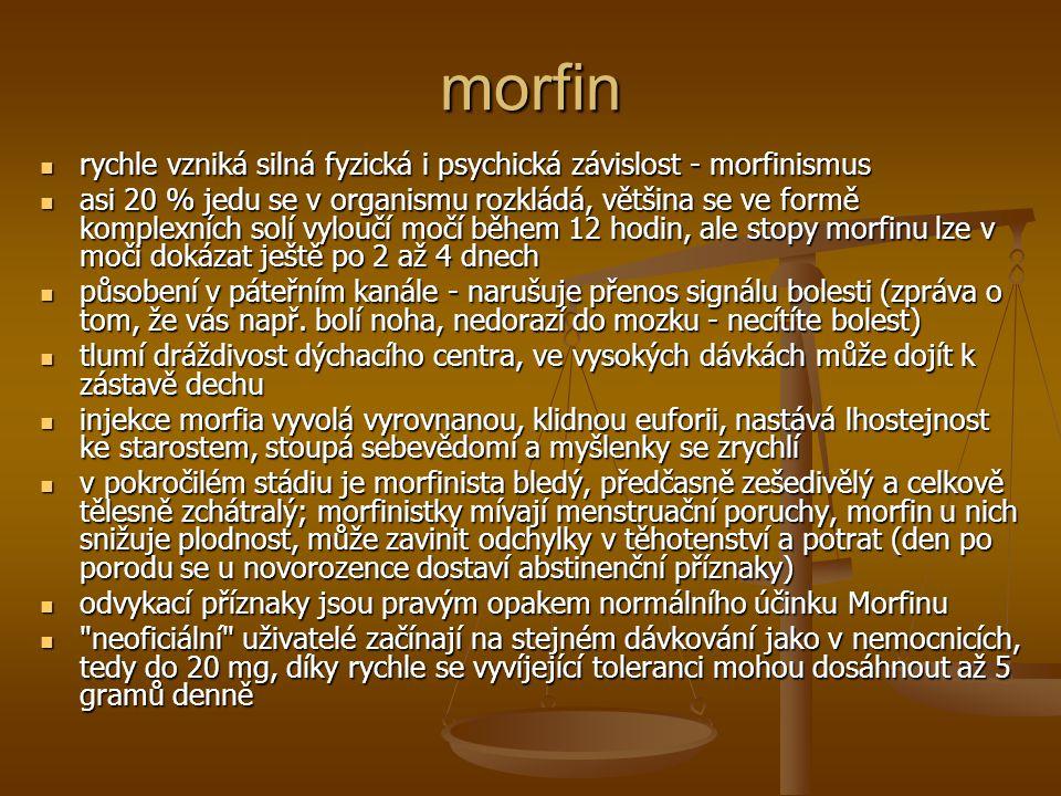 morfin rychle vzniká silná fyzická i psychická závislost - morfinismus