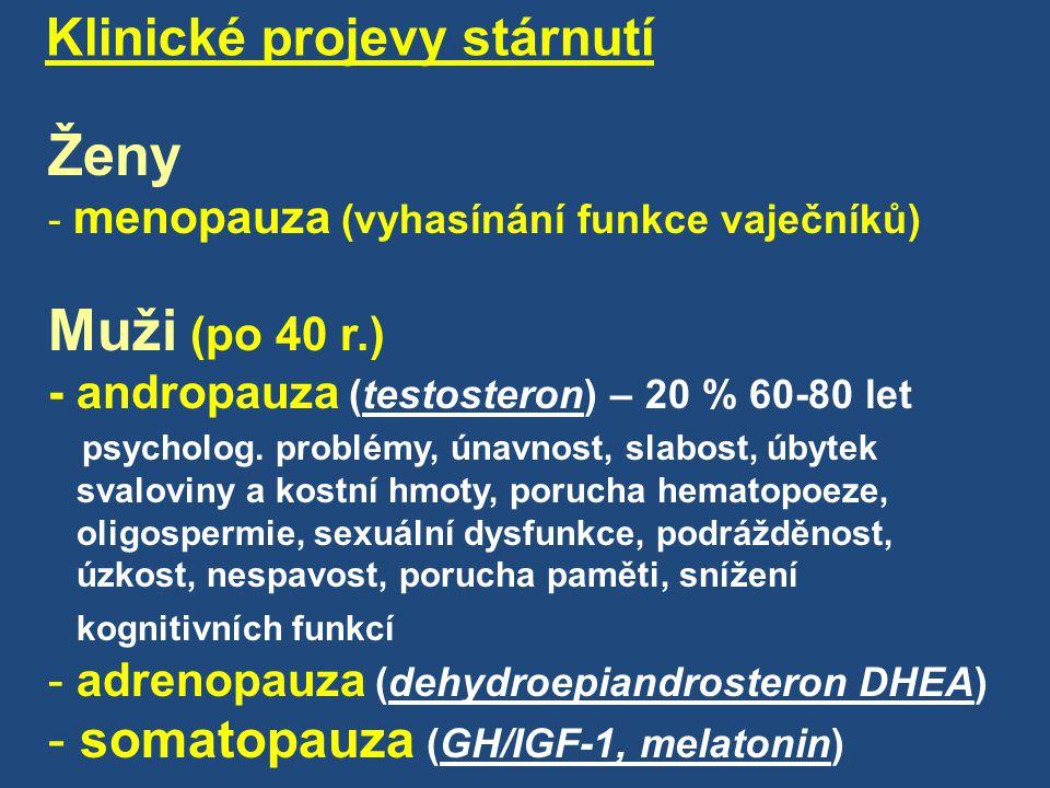 Ženy Klinické projevy stárnutí somatopauza (GH/IGF-1, melatonin)