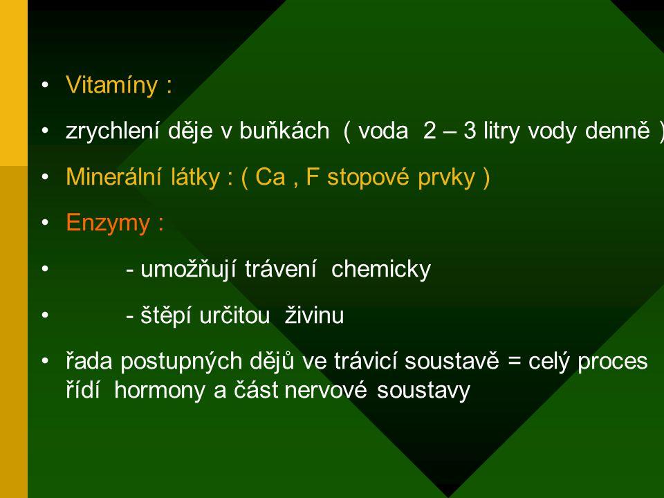 Vitamíny : zrychlení děje v buňkách ( voda 2 – 3 litry vody denně ) Minerální látky : ( Ca , F stopové prvky )