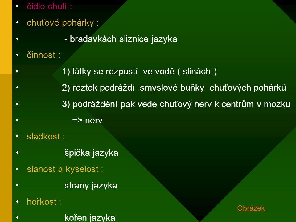- bradavkách sliznice jazyka činnost :