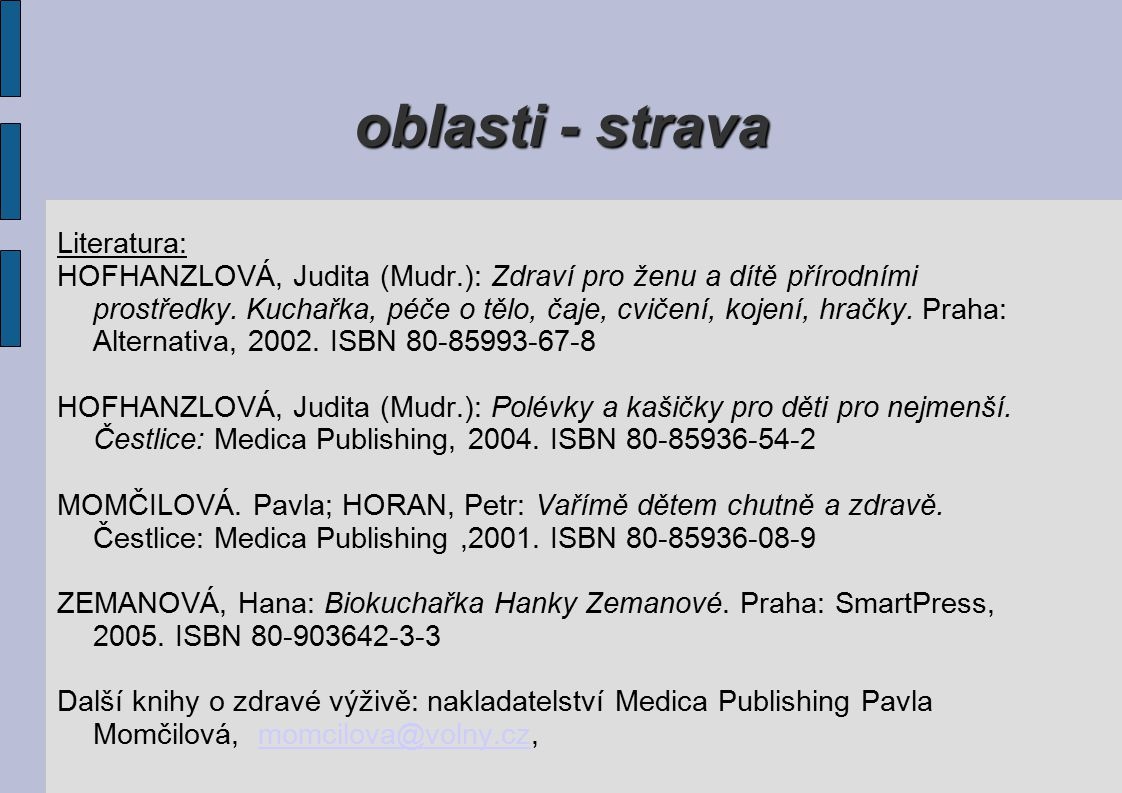 oblasti - strava Literatura: