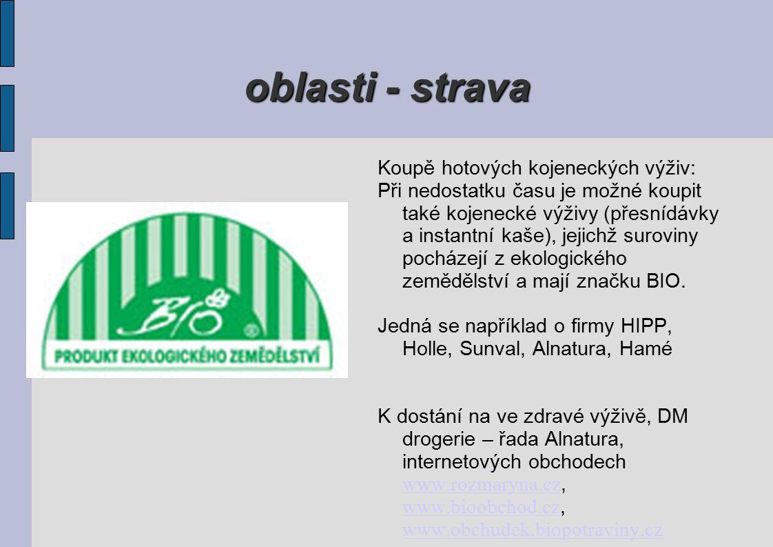 oblasti - strava Koupě hotových kojeneckých výživ: