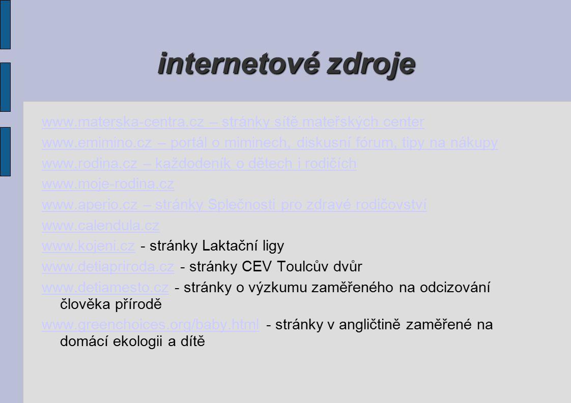 internetové zdroje www.materska-centra.cz – stránky sítě mateřských center. www.emimino.cz – portál o miminech, diskusní fórum, tipy na nákupy.
