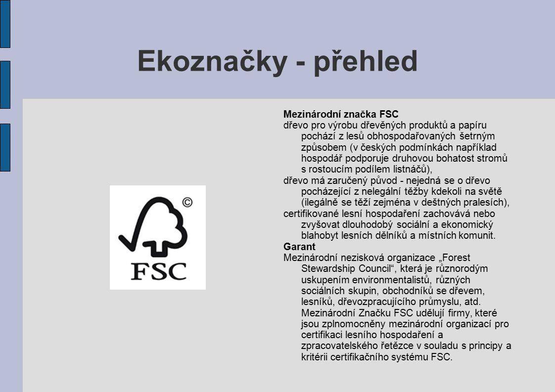 Ekoznačky - přehled Mezinárodní značka FSC