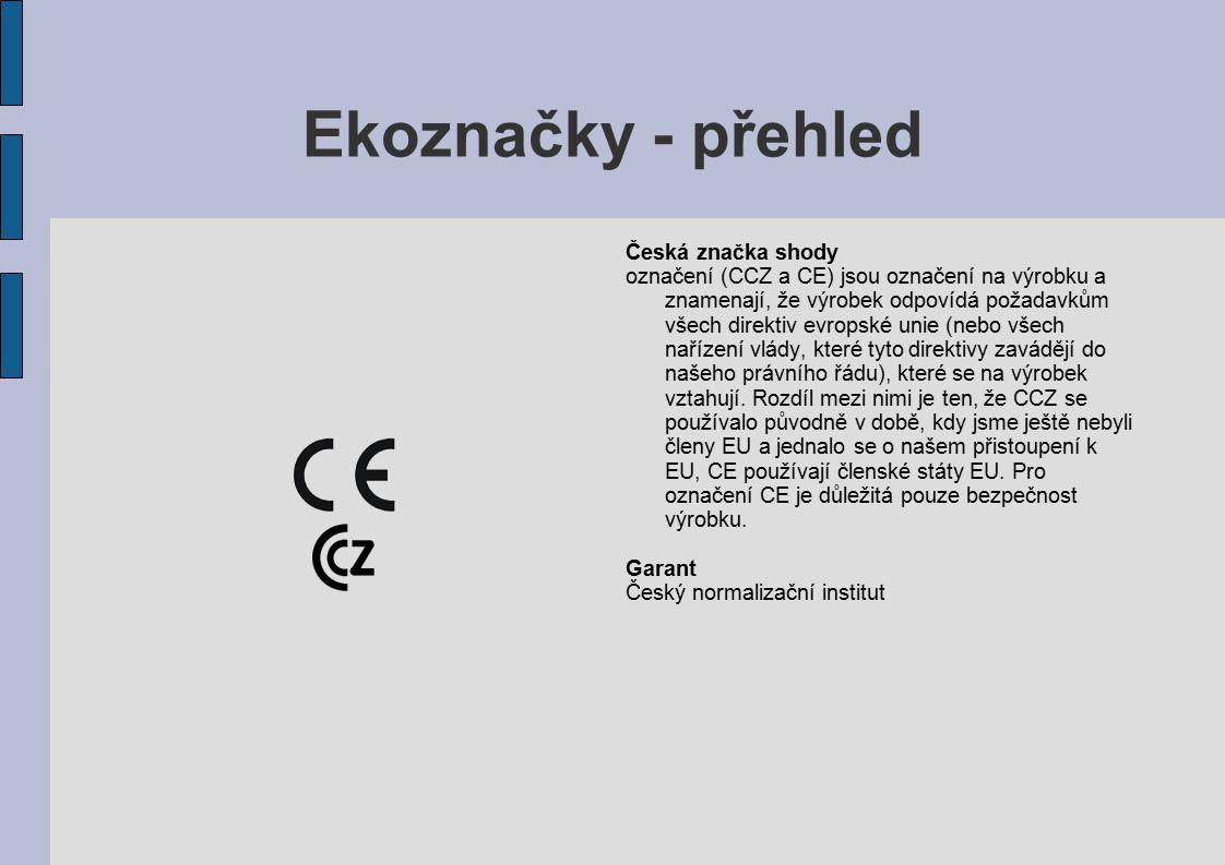 Ekoznačky - přehled Česká značka shody