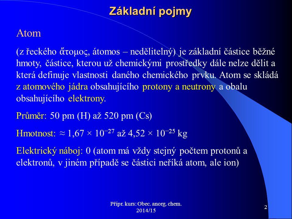 Přípr. kurs: Obec. anorg. chem. 2014/15