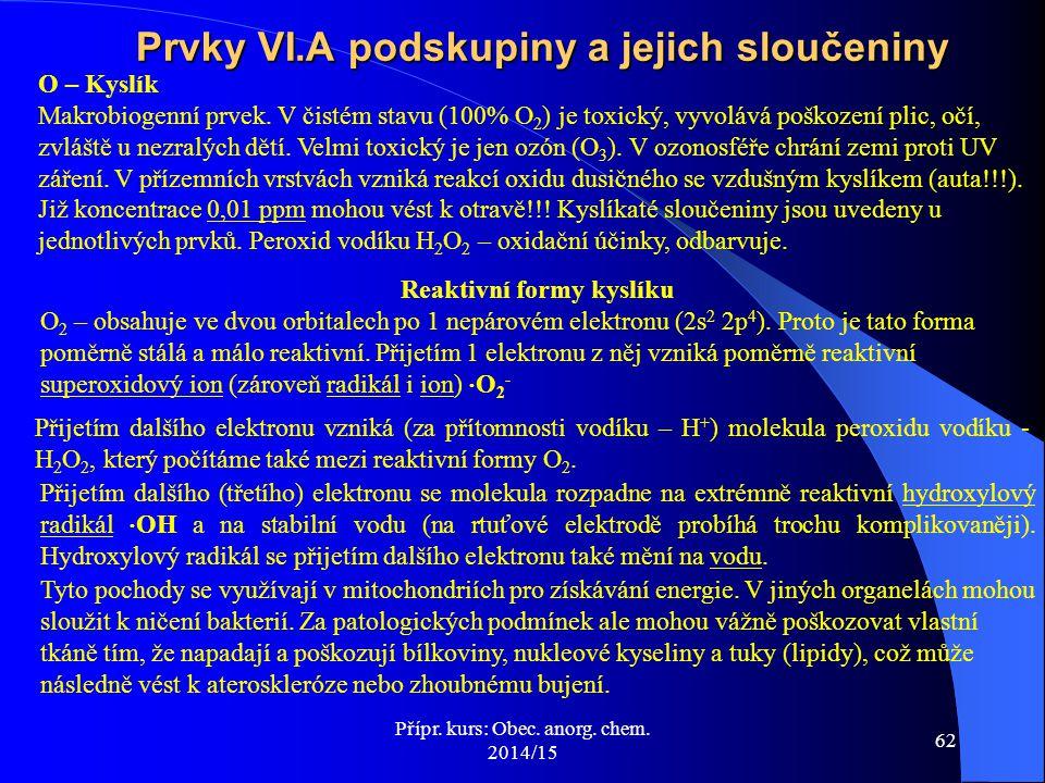 Prvky VI.A podskupiny a jejich sloučeniny