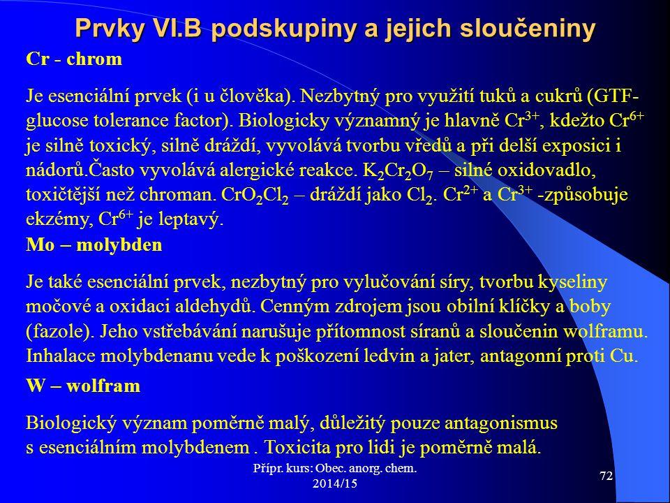 Prvky VI.B podskupiny a jejich sloučeniny