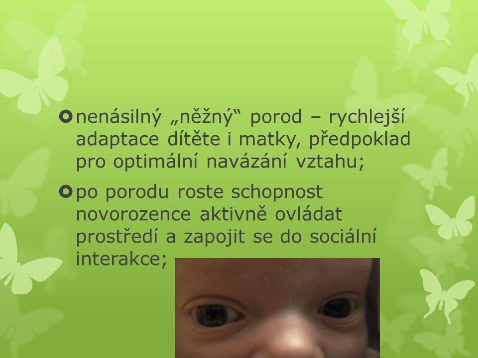 """nenásilný """"něžný porod – rychlejší adaptace dítěte i matky, předpoklad pro optimální navázání vztahu;"""