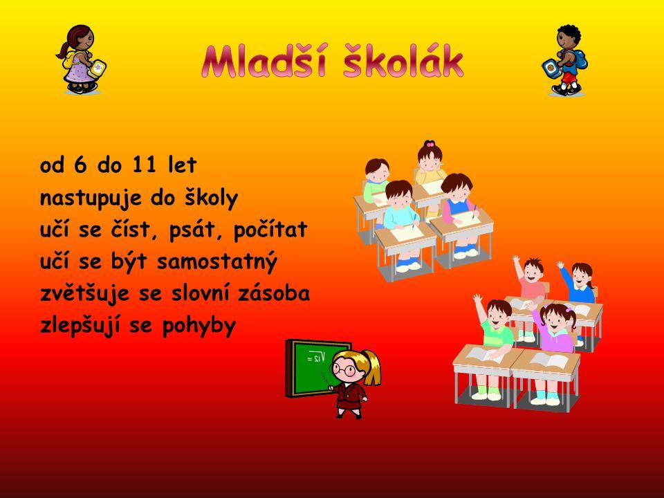 Mladší školák od 6 do 11 let nastupuje do školy