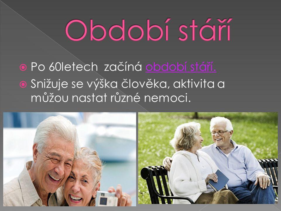 Období stáří Po 60letech začíná období stáří.
