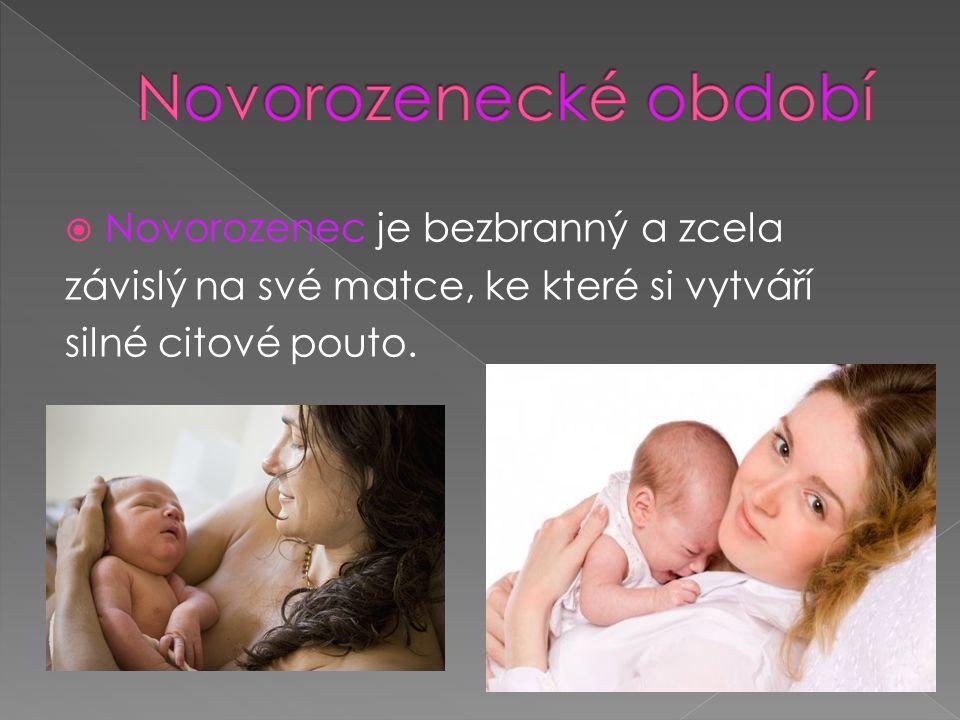 Novorozenecké období Novorozenec je bezbranný a zcela