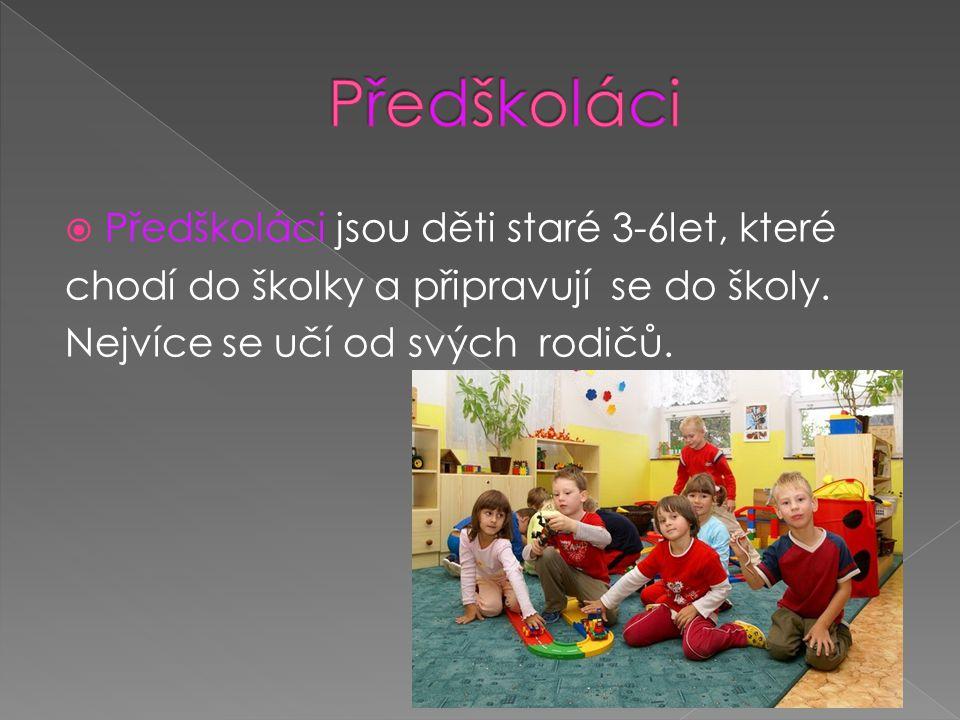 Předškoláci Předškoláci jsou děti staré 3-6let, které