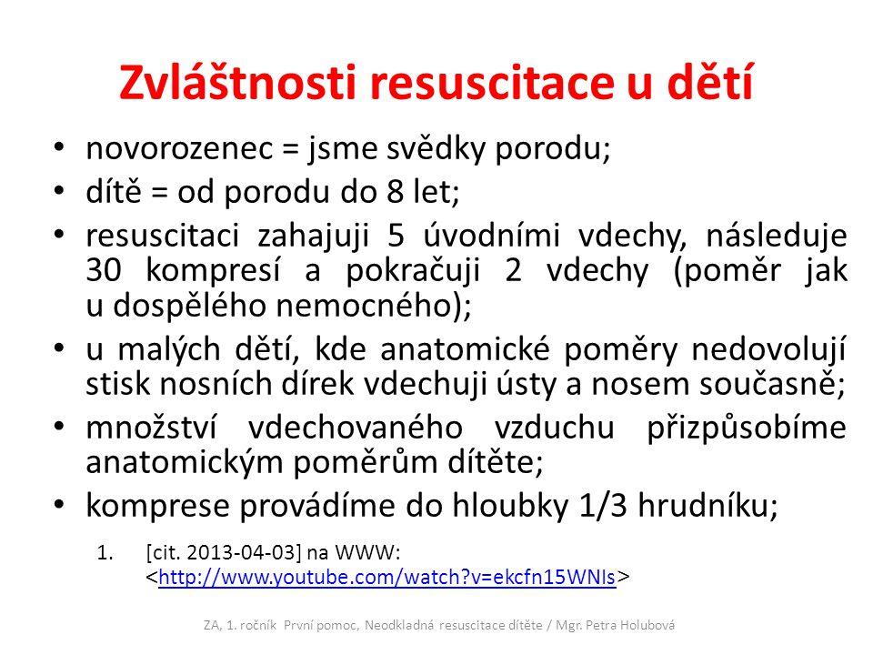 Zvláštnosti resuscitace u dětí