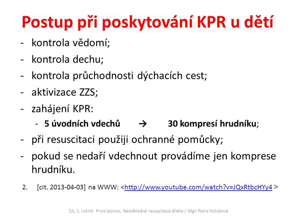 Postup při poskytování KPR u dětí