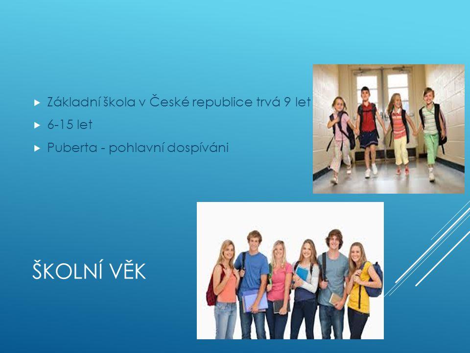 Školní věk Základní škola v České republice trvá 9 let 6-15 let