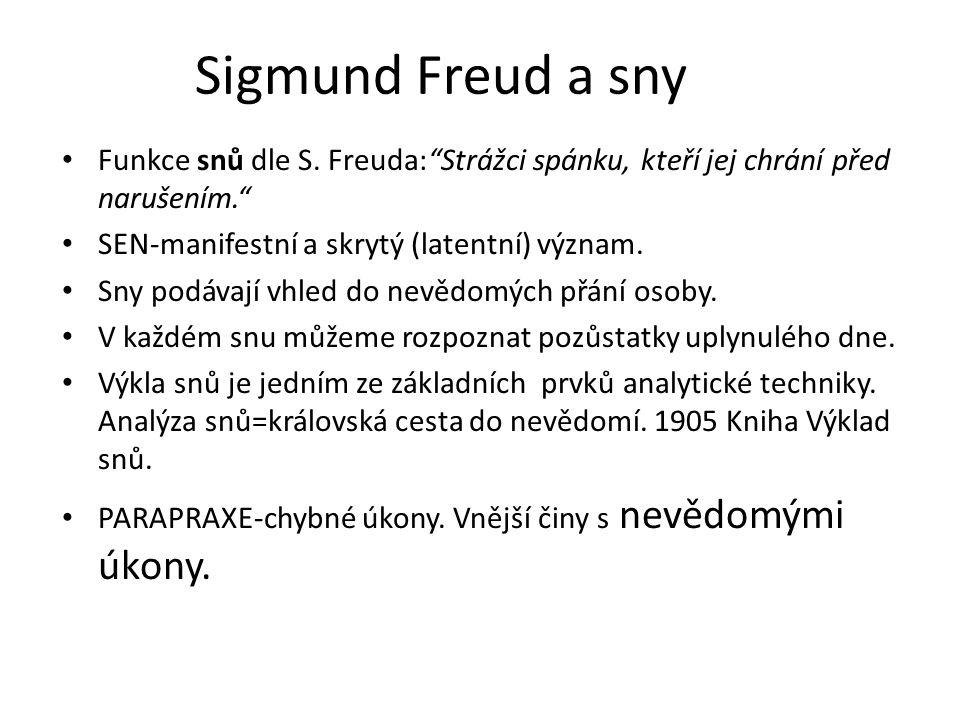 Sigmund Freud a sny Funkce snů dle S. Freuda: Strážci spánku, kteří jej chrání před narušením. SEN-manifestní a skrytý (latentní) význam.