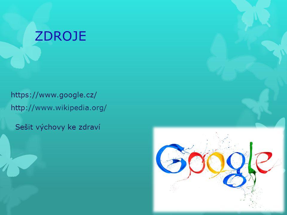 ZDROJE https://www.google.cz/ http://www.wikipedia.org/