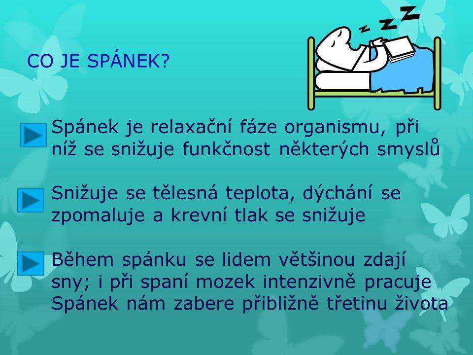 CO JE SPÁNEK Spánek je relaxační fáze organismu, při. níž se snižuje funkčnost některých smyslů.