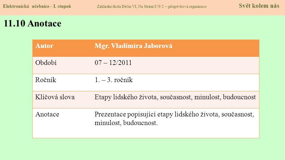 11.10 Anotace Autor Mgr. Vladimíra Jaborová Období 07 – 12/2011 Ročník