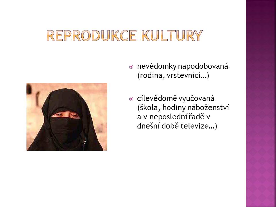 Reprodukce kultury nevědomky napodobovaná (rodina, vrstevníci…)