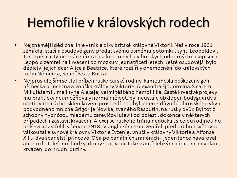 Hemofilie v královských rodech