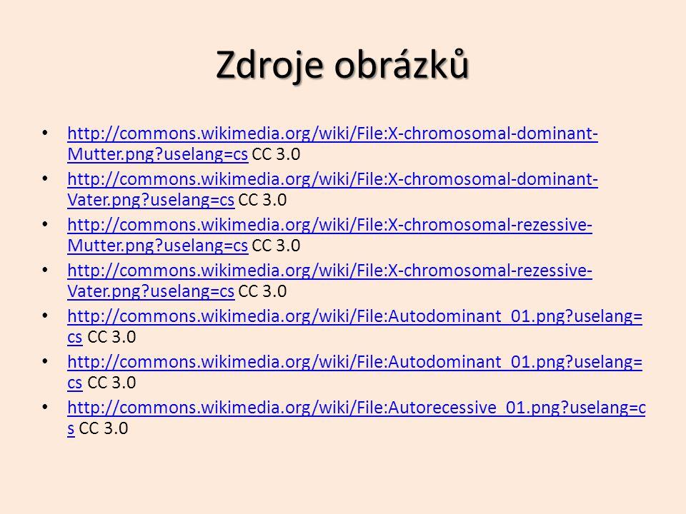 Zdroje obrázků http://commons.wikimedia.org/wiki/File:X-chromosomal-dominant-Mutter.png uselang=cs CC 3.0.