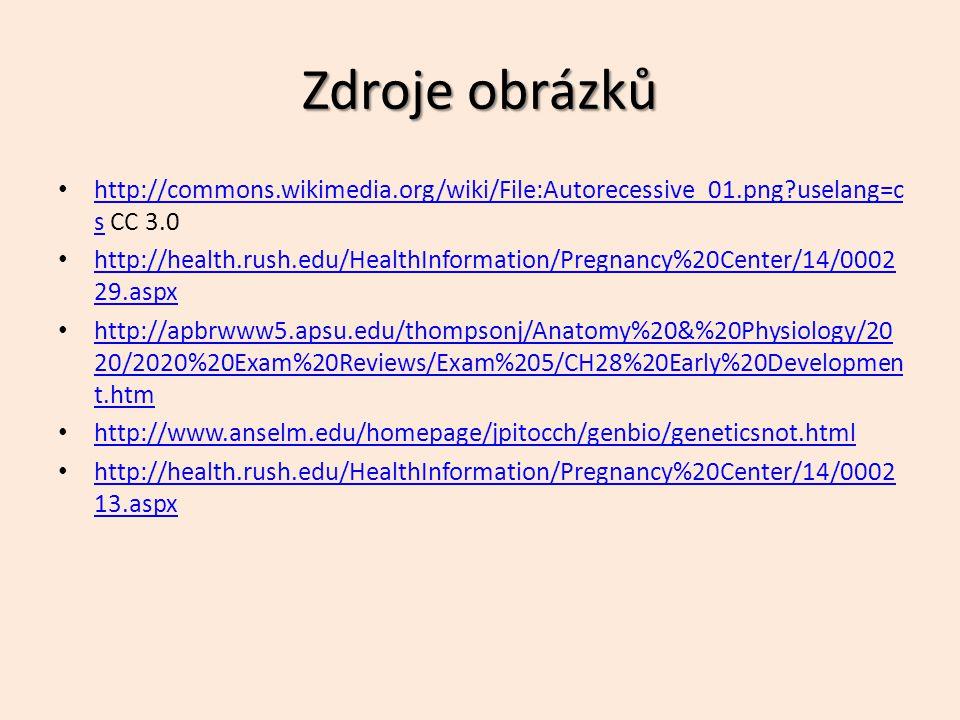 Zdroje obrázků http://commons.wikimedia.org/wiki/File:Autorecessive_01.png uselang=cs CC 3.0.