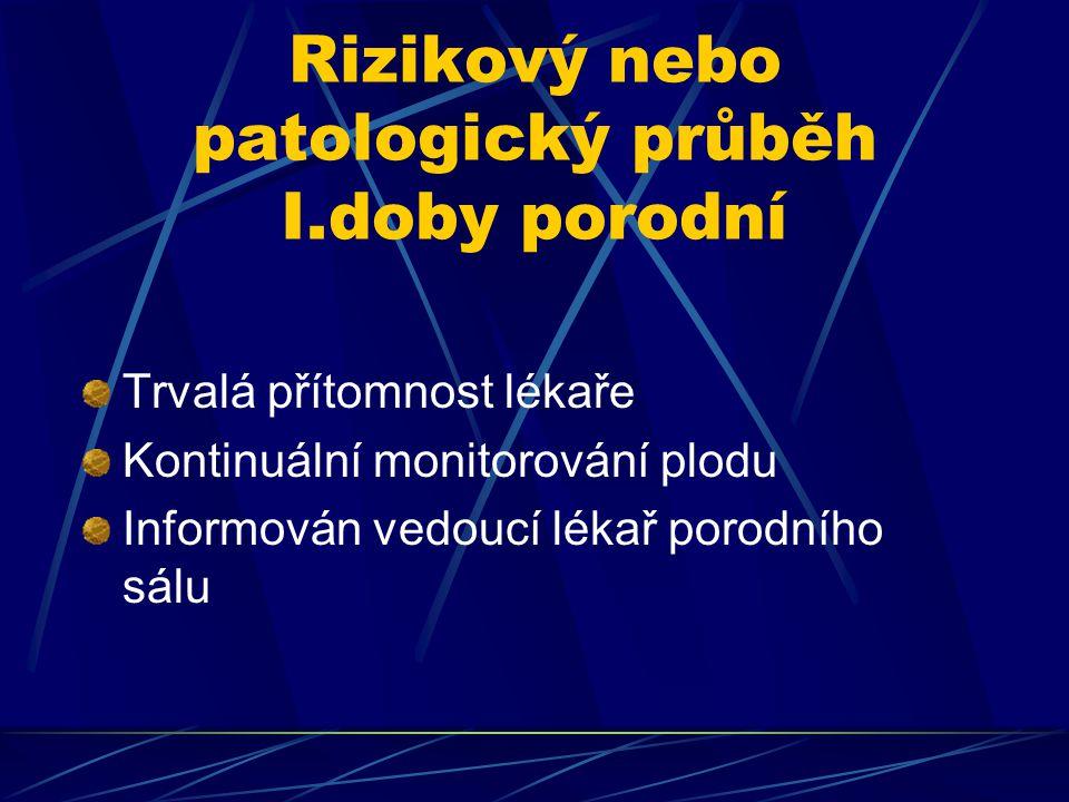 Rizikový nebo patologický průběh I.doby porodní