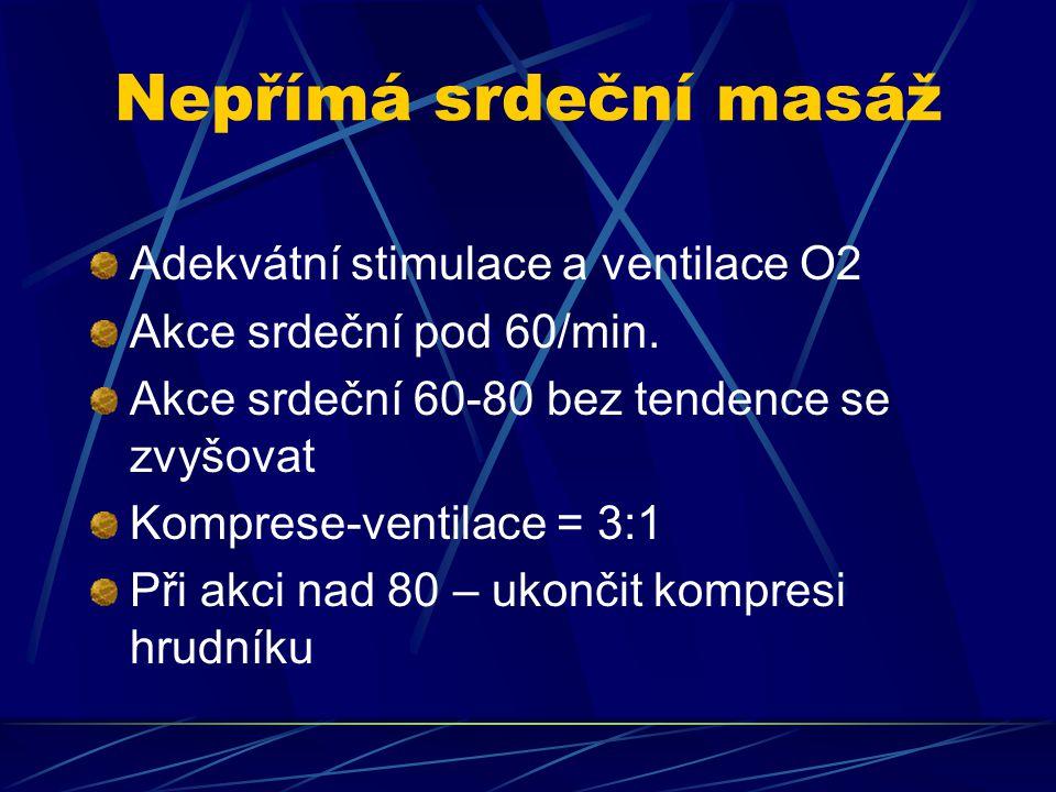 Nepřímá srdeční masáž Adekvátní stimulace a ventilace O2