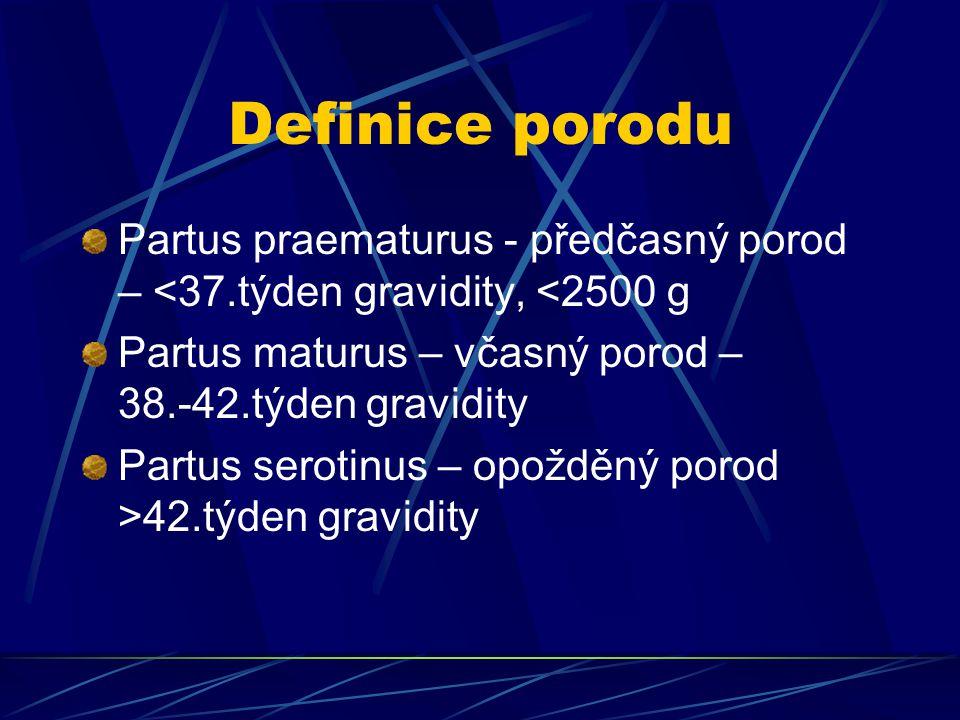 Definice porodu Partus praematurus - předčasný porod – <37.týden gravidity, <2500 g.