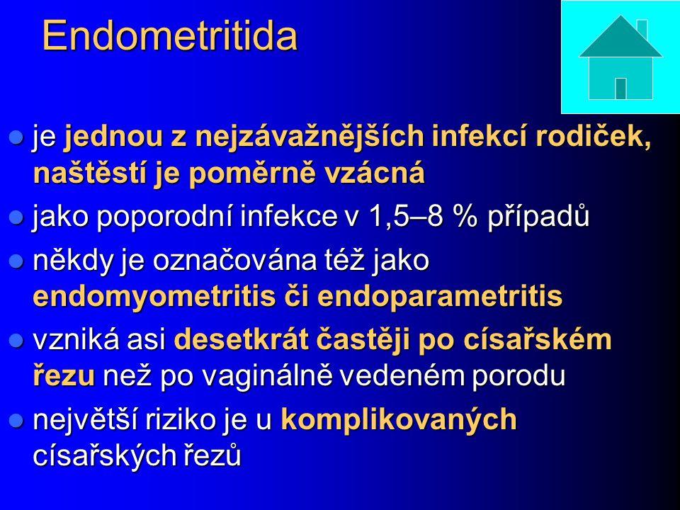 Endometritida je jednou z nejzávažnějších infekcí rodiček, naštěstí je poměrně vzácná. jako poporodní infekce v 1,5–8 % případů.