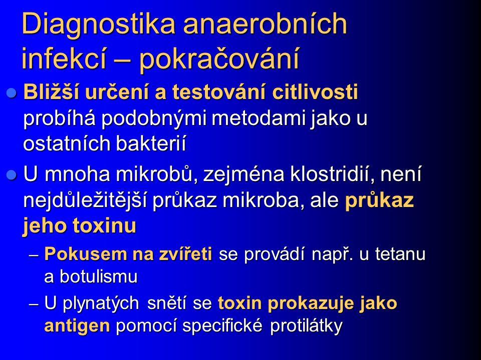 Diagnostika anaerobních infekcí – pokračování