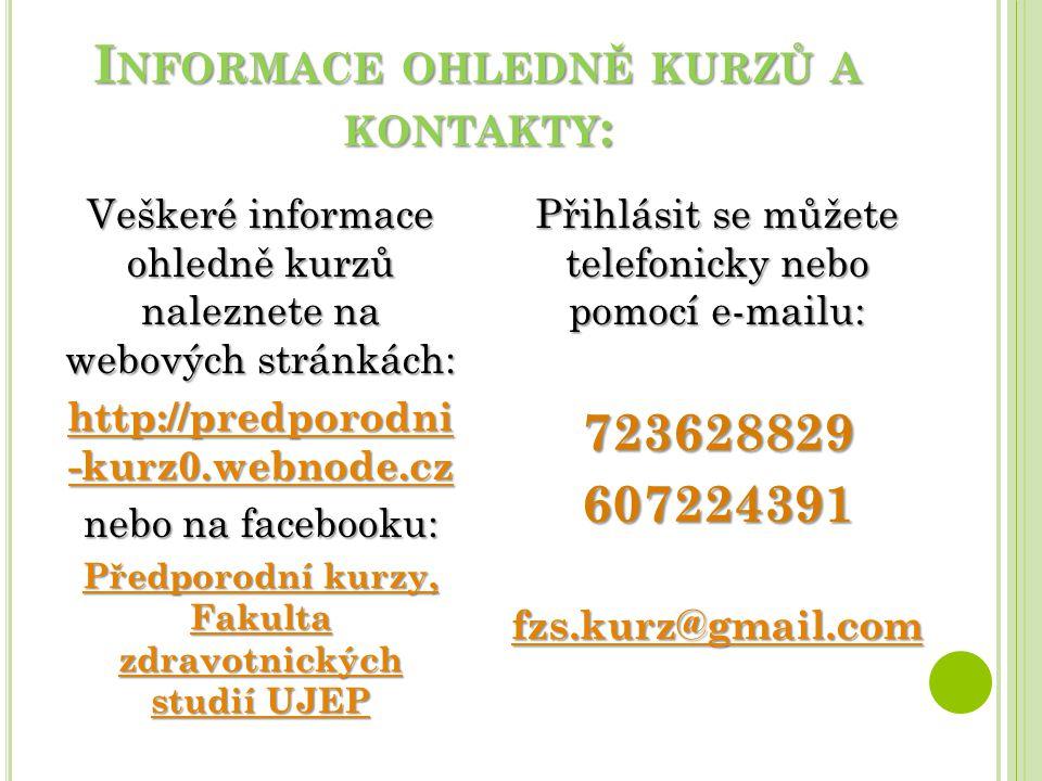 Informace ohledně kurzů a kontakty: