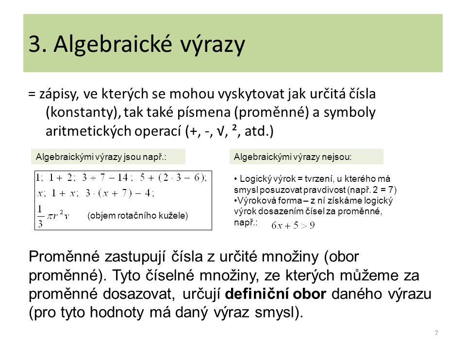 3. Algebraické výrazy