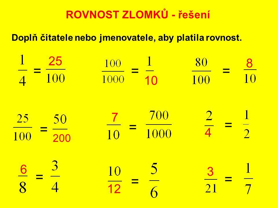 = = = = = = = = = 25 8 10 7 4 6 3 12 ROVNOST ZLOMKŮ - řešení 200