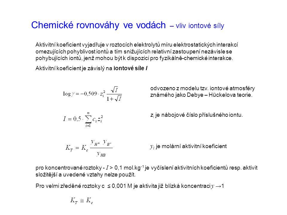 Chemické rovnováhy ve vodách – vliv iontové síly