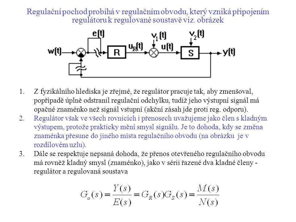 Regulační pochod probíhá v regulačním obvodu, který vzniká připojením regulátoru k regulované soustavě viz. obrázek