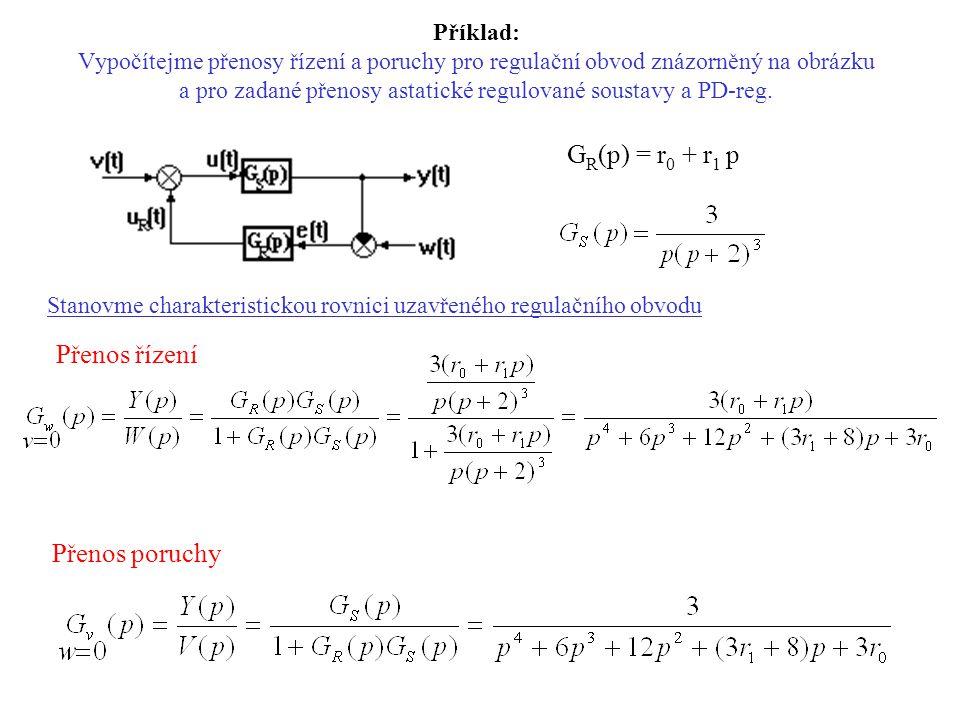 Přenos řízení GR(p) = r0 + r1 p Přenos poruchy