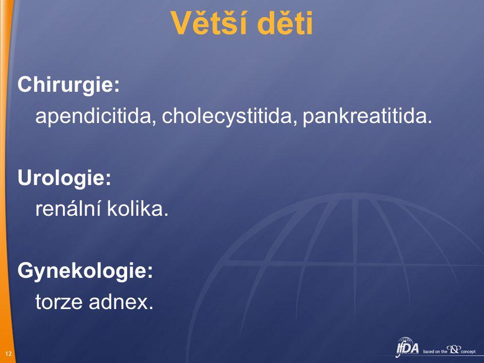 Větší děti Chirurgie: apendicitida, cholecystitida, pankreatitida.