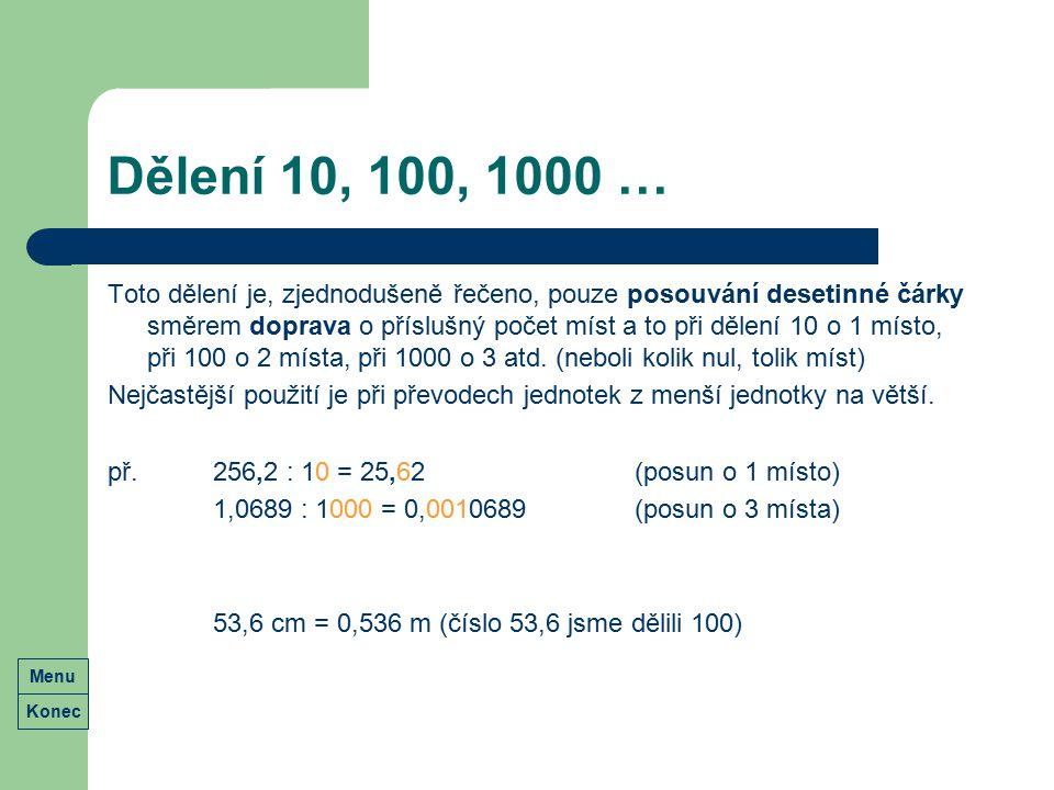 Dělení 10, 100, 1000 …