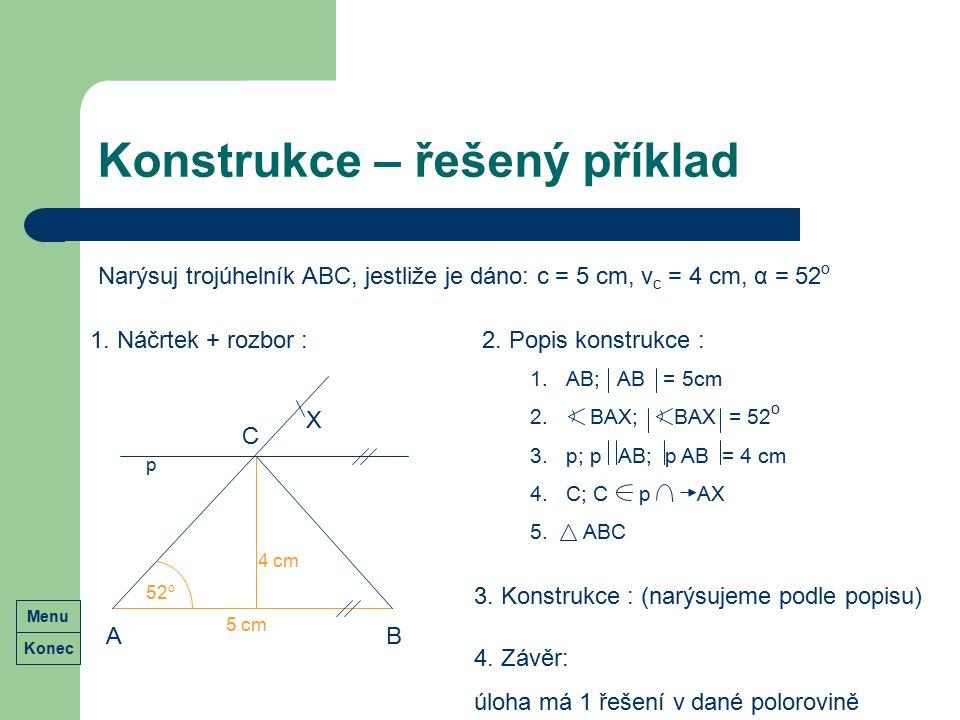 Konstrukce – řešený příklad