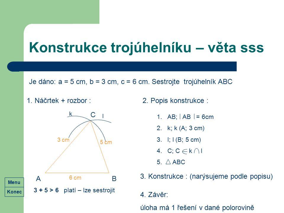 Konstrukce trojúhelníku – věta sss