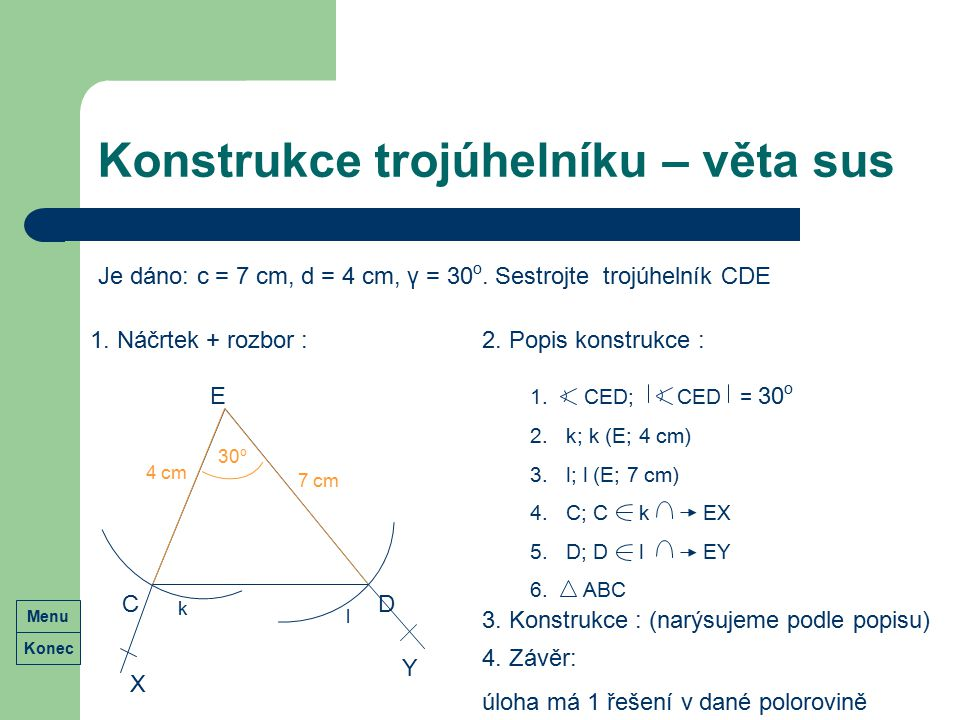 Konstrukce trojúhelníku – věta sus