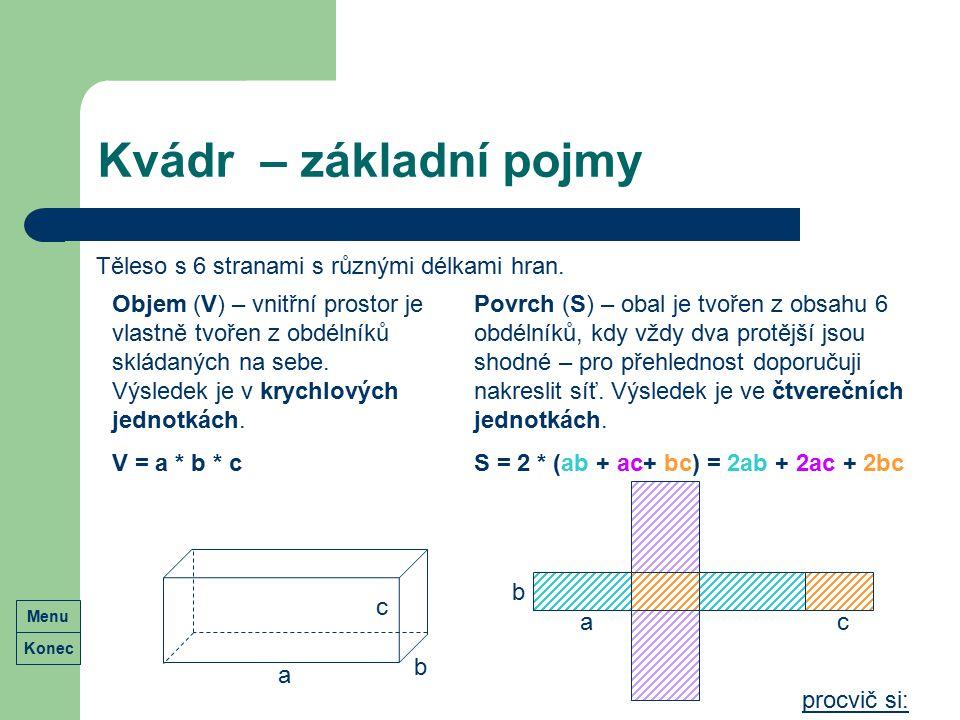 Kvádr – základní pojmy Těleso s 6 stranami s různými délkami hran.